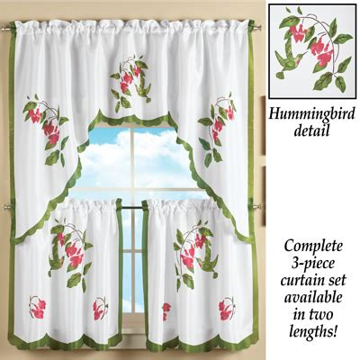 hummingbird curtains hummingbird and flowers tier curtain set from collections etc