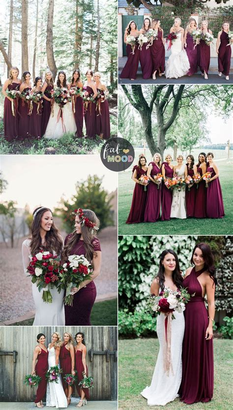 wedding dresses maroon colour burgundy bridesmaid dresses make your fall wedding stand out