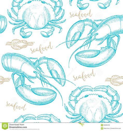 seamless pattern hand drawn seafood seamless pattern background vector with seafood elements