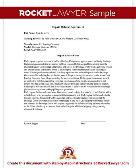 Release Drive Letter release from liability form for repair free repair
