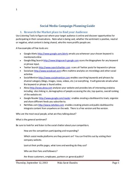 short thesis about social media social media caign planning guide