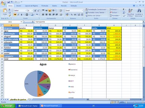 tecnologia administrativa planilha excel gastos semestrais