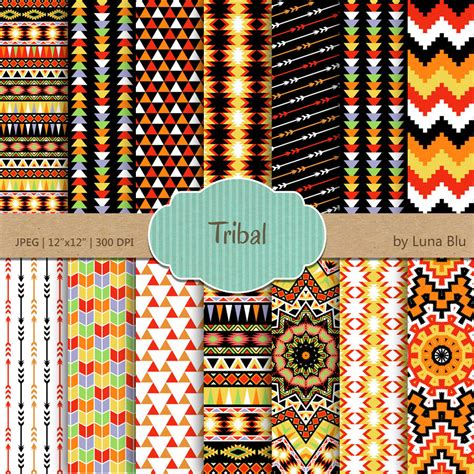 tribal pattern paper tribal digital paper tribal patterns with