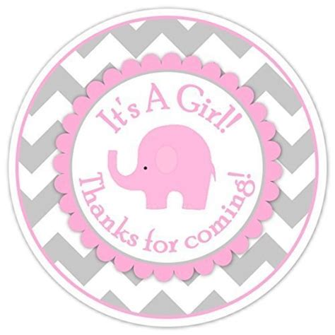 Pink Elephant Baby Shower Favors by 36 Baby Shower Labels Mod Pink Elephant Pink And Gray