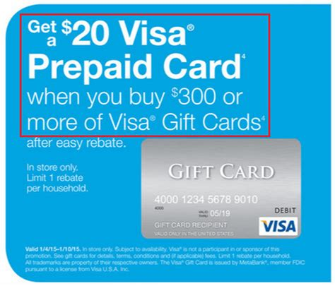 Visa Gift Cards Cash - staples easy rebate 20 visa gift card on 300 visa gift card purchase jan 4 10