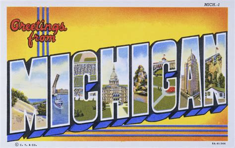 printable michigan postcards postcard of greetings from michigan lake county
