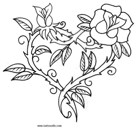 heart rose and vine tattoo designs picturem designs 01