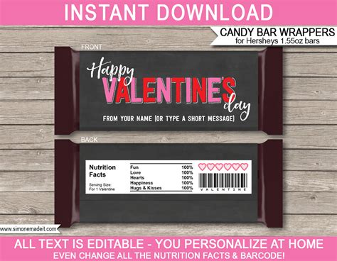 chocolate bar label template s day bar wrappers personalized