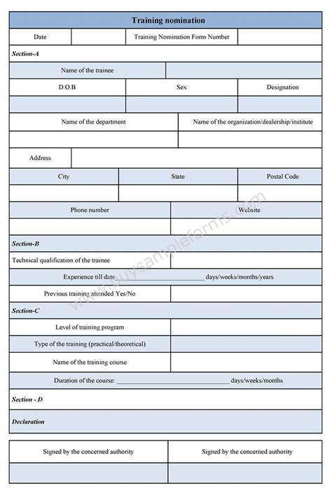 training nomination form template
