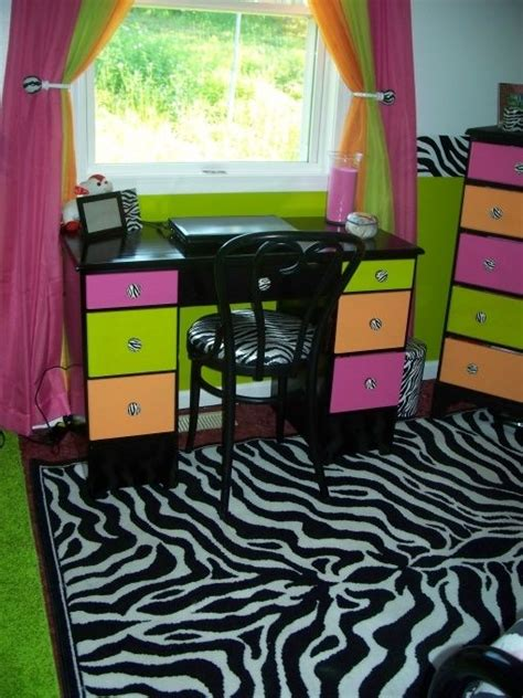 zebra pink lime green orange bedroom click image