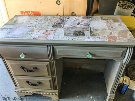 Decoupage A Desk - refurbished desktop using decoupage medium mod podge dig