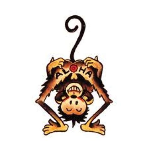 aloha monkey tattoo pin by jason blackwell on tattoos