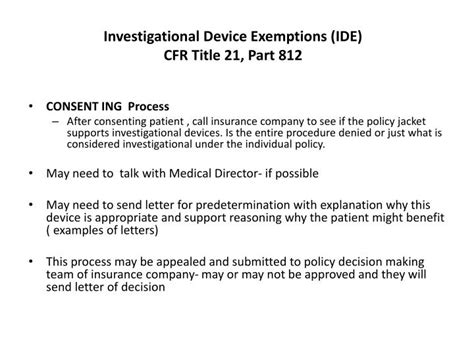 Insurance Predetermination Letter Ppt Investigational Device Exemptions Ide Cfr Title 21 Part 812 Powerpoint Presentation