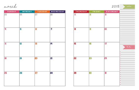 Galerry month planner 2018 free printable