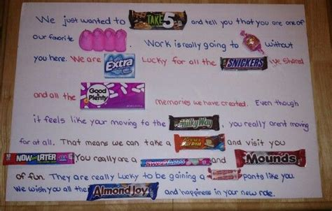 candy christmas boards for co workers story for a or co worker leaving leaving gift for coworker leaving