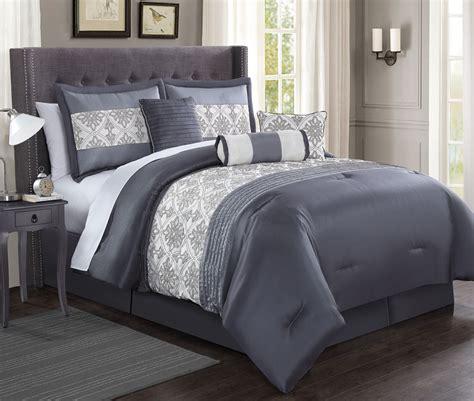 charcoal grey comforter sets 7 piece ambrosia charcoal gray ivory comforter set
