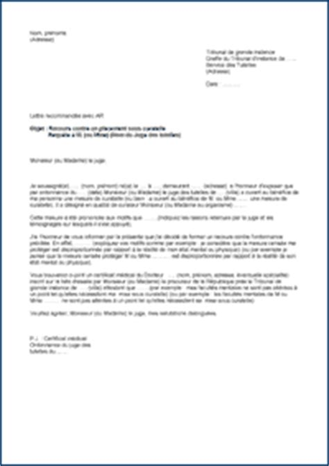 Exemple De Lettre Pour Cooperative Tutelle Curatelle Mod 232 Les De Lettres Contestation D Un Placement Sous Curatelle
