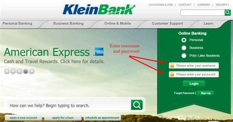 kleine bank klein bank banking login cc bank