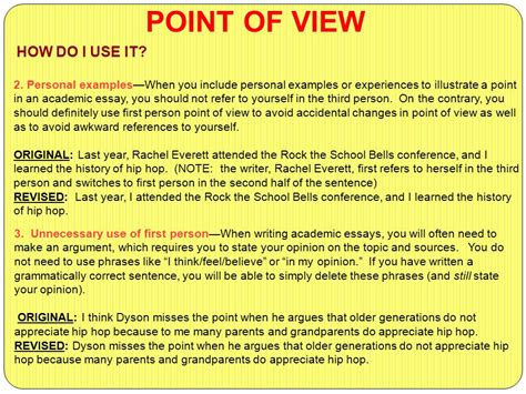 The Academic Point Of View by Second Person Essay Writing Lesson Writing In Third Person