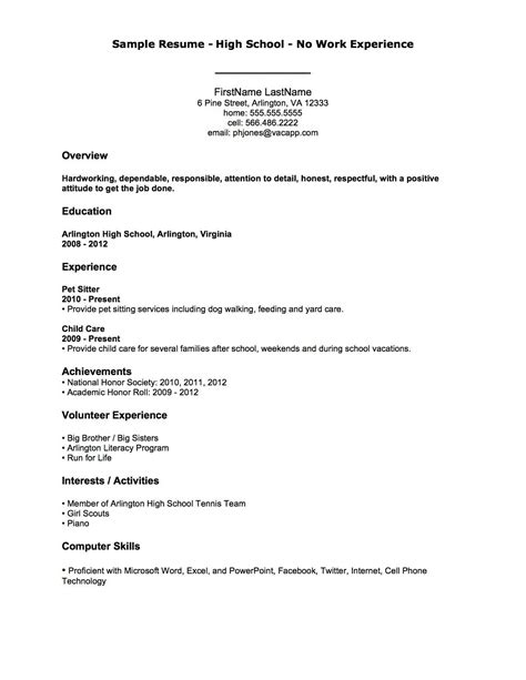 cv template for no experience with no work experience resume template exles work