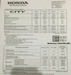 Honda Price List Honda City Pricing Increased From January 1 2016