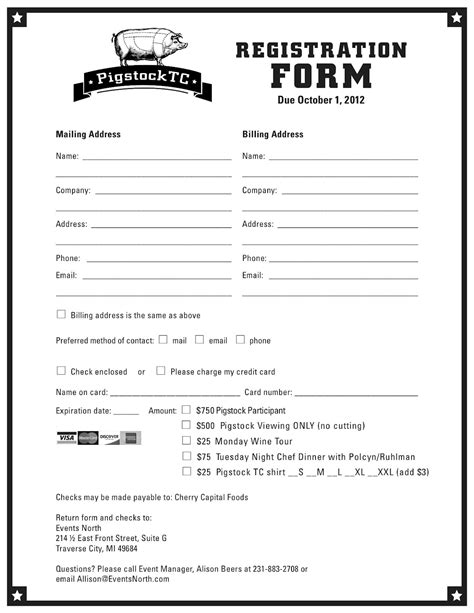 Application Form Registration Form Template Printable Program Registration Form Template