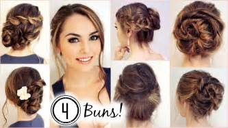 No heat hairstyles 4 unique messy buns jackie wyers youtube