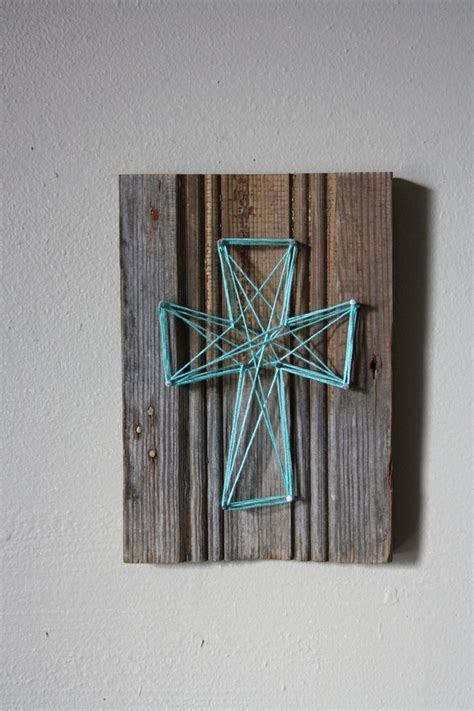 Wood For String - reclaimed wood trim with string cross wall decor