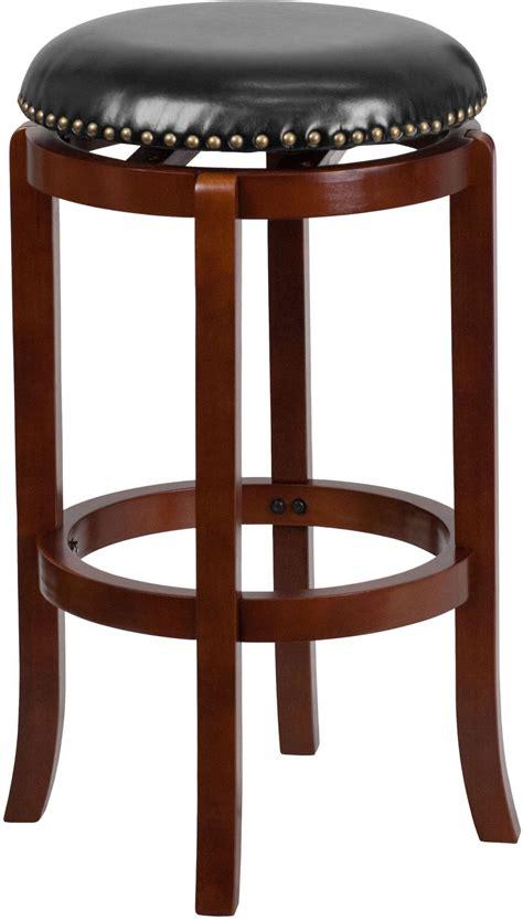 Light Cherry Bar Stools by 29inch Black Upholstery Swivel Backless Light Cherry Wood