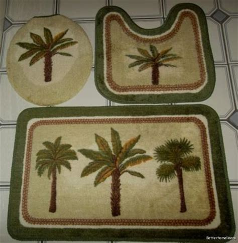 palm tree bathroom rugs 3 pc palm tree bathroom set bath mat carpet contour rug