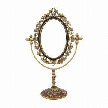 vintage table top mirror antique gold jeweled metal tabletop mirror dressing