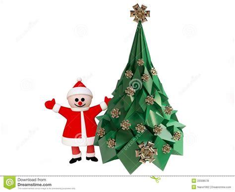 nearby christmas tree santa claus near decorated tree royalty free stock photos image 22008578