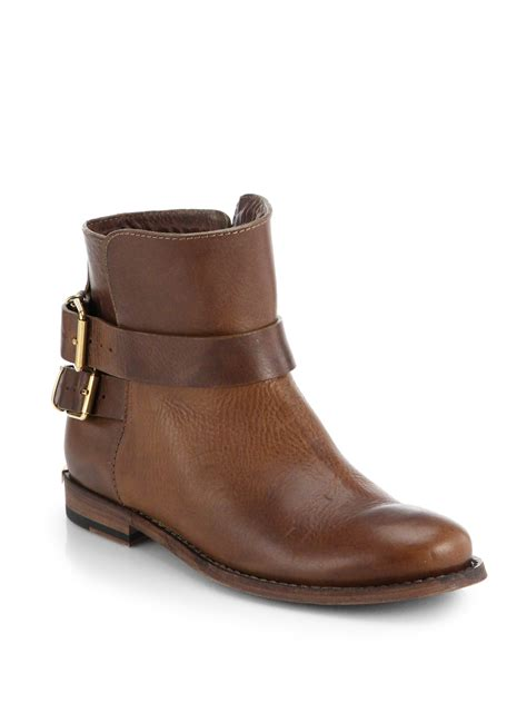 flat bootie lyst burberry kalina flat ankle boots in brown