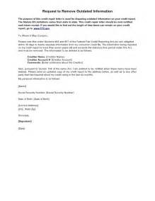 Sample Letter To Remove Items From Credit Report Sample Letter Request To Remove Outdated Information
