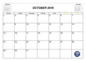 October 2018 Calendar With Holidays October 2018 Calendar Printable With Holidays Monthly