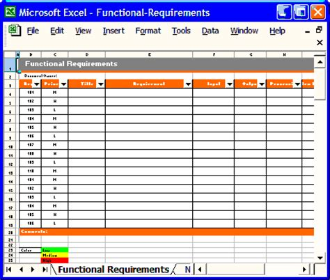 functional requirements template software software templates