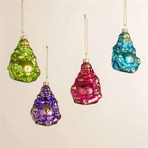 glass happy buddha ornaments set of 4 world market