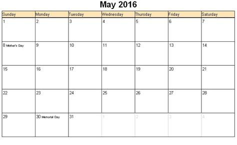 Calendar Printable 2016 May May 2016 Printable Calendar 171 Printable Hub