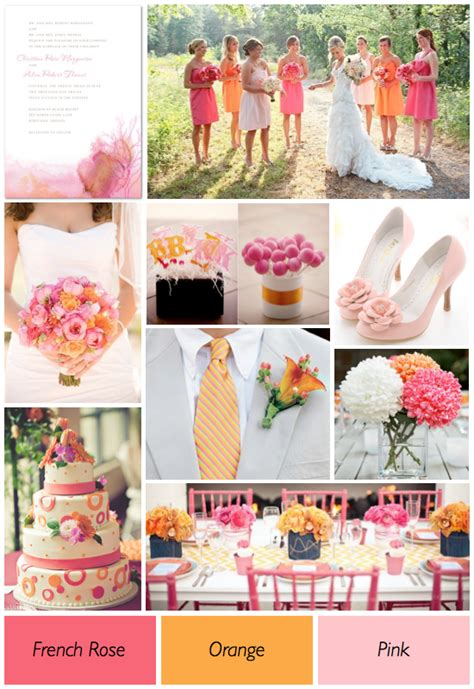color theme ideas pink and orange wedding colors