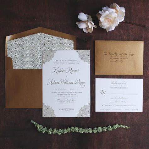 Wedding Invitations Black Paper by Gold Invitation Suite Deco Invitation Black Tie