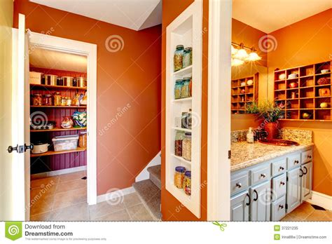 Small Bathroom Shelves Ideas by Rust And White Small Hallway With Designed Built In
