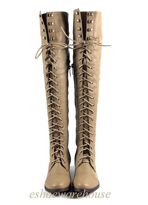 gallery for thigh high lace up flat boots thigh high lace