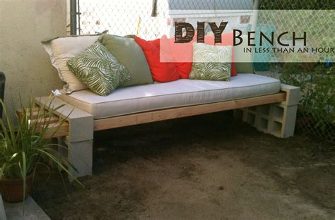easy diy bench concrete block outdoor bench decor hacks