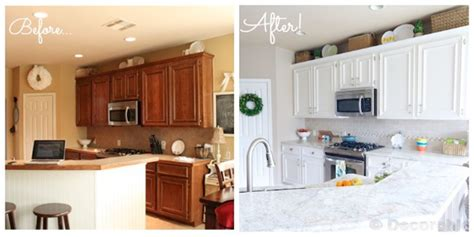 before and after white kitchen cabinets kitchen makeover goes white with paint and laminate