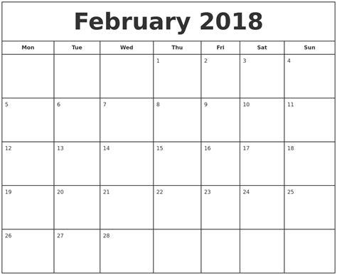 free online printable february calendar february 2018 print free calendar