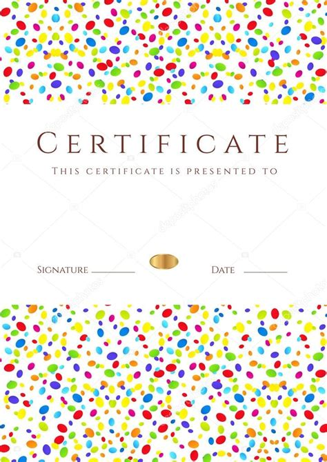 free editable certificates vertical colorful certificate of completion template for