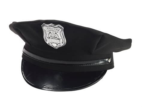 The Little Store Of Home Decor black police hat cap man policeman cop hat w badge adult
