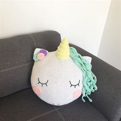 Unicorn Cushion Pattern | crocheted unicorn cushion pillow and guess what the