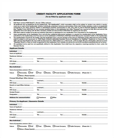 Credit Facility Form 32 Credit Application Forms In Pdf