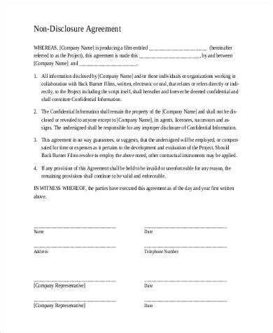 non disclosure agreement form simple confidential